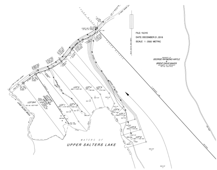Upper Salters Lake Lot Map